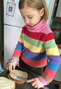 """Spreding Coconut oil rye for some baked """"grilled"""" cheese!"""